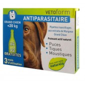 Vetoform Antiparasitaire Pipettes Grand Chien 6 Pipettes