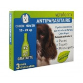 Vetoform Antiparasitaire Pipettes Chien Moyen 3 Pipettes