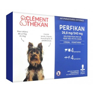 Clément Thékan Perfikan 26,8 mg/240 mg Très Petits Chiens 4 Pipettes