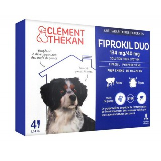 Clément Thékan Fiprokil Duo 134 mg/40 mg Chien 4 Pipettes