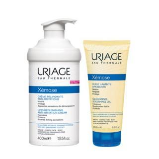 Uriage Xémose Crème relipidante 400ml + Huile lavante 200ml