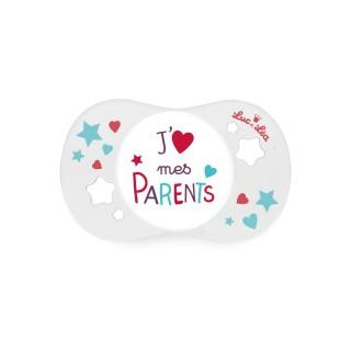 Luc et Léa Sucette Silicone18 Mois J'aime mes parents
