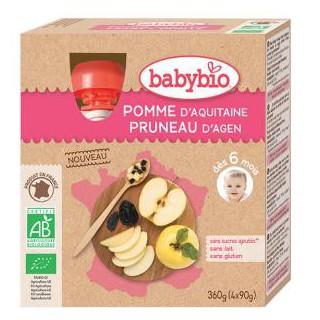 Babybio gourdes Pomme Pruneau 4x90g