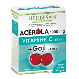 Herbesan Acérola 1000 mg + Goji - 30 comprimés à croquer