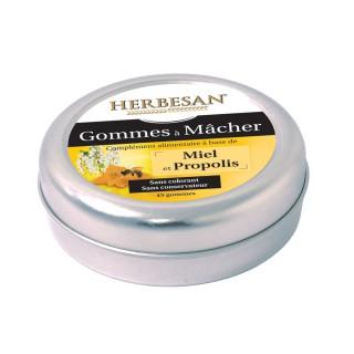 Herbesan Gommes à mâcher miel propolis - 45 gommes