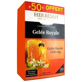 Herbesan gelée royale 1500 mg - 20 ampoules + 10 Offertes