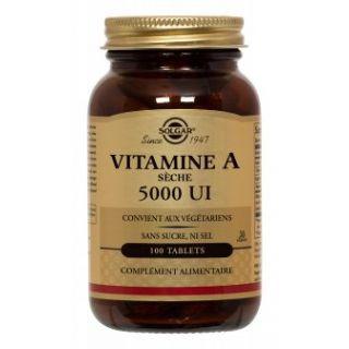 Solgar Vitamine A Sèche 5000 UI 100 Comprimés