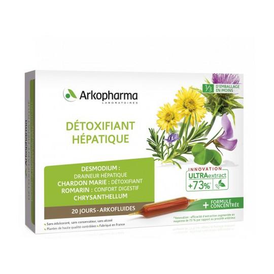 Arkofluides Détoxifiant hépatique Bio - 20 ampoules