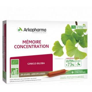 Arkofluides Mémoire & concentration Bio - 20 ampoules