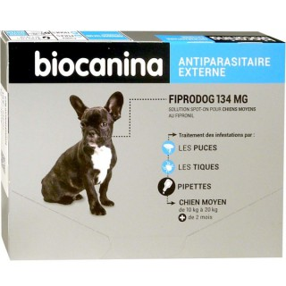 Biocanina FiproDog 134mg chien moyen - 3 pipettes