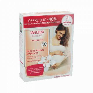Weleda Huile de Massage Vergetures 100ml DUO