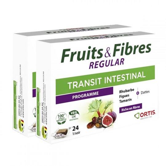 Ortis Fruits & Fibres Regular Transit intestinal - Lot de 2 x 24 cubes
