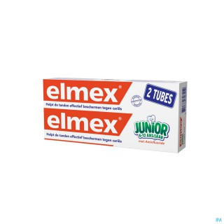 Elmex dentifrice junior 2 tubes de 75ml