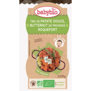 Babybio trio de patate douce, butternut de provence, roquefort, dès 12 mois 2*200g