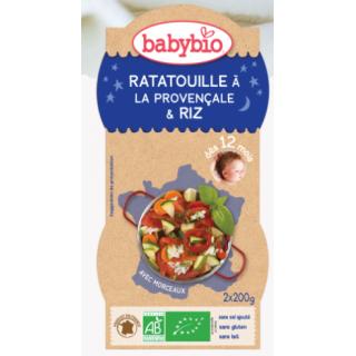 Babybio ratatouille à la provencale riz dès 12 mois 2*200g