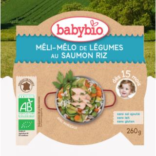 Babybio Méli-Mélo de légumes saumon, riz dès 15mois, 260g