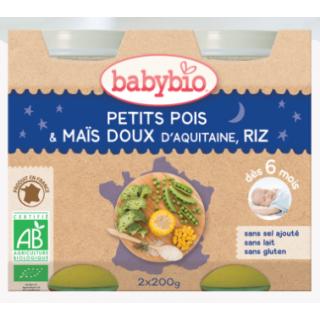 Babybio petits pois, maïs doux d'aquitaine, riz de camargue, dès 6 mois, 2*200g