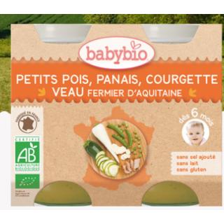 Babybio petits pois, panais, courgette veau fermier d'aquitaine, dès 6mois, 2*200g