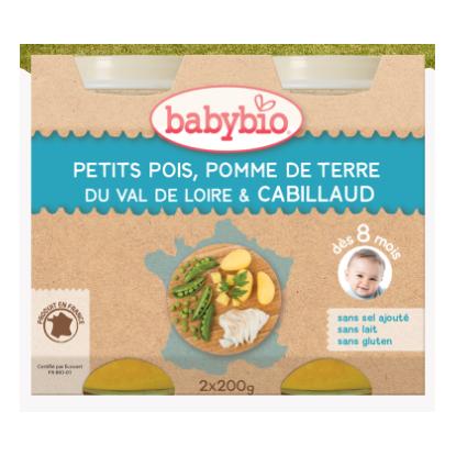 Babybio petits pois, pomme de terre du val de loire, cabillaud, dès 8mois, 2*200g