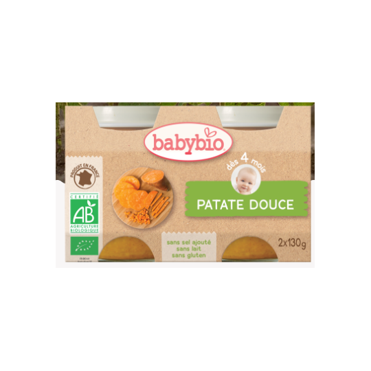 Babybio patate douce, dès 4mois, 2*130g