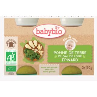 Babybio pomme de terre du val de loire, épinard, dès 4mois, 2*130g