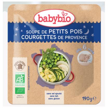 Babybio Soupe de petits pois, Courgettes de Provence, dès 6 mois, 190g