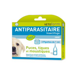 Vetoform Antiparasitaire insectifuge chiot 3 pipettes