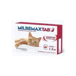 Milbemaxtab vermifuge chat + de 2kg - 2 comprimés