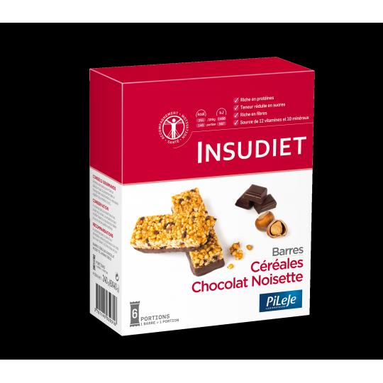 Insudiet barres céréales choco noisettes x 6