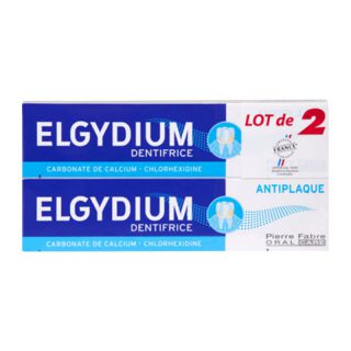 Elgydium dentifrice antiplaque lot de 2 tubes de 75ml
