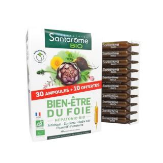Santarome Bio Bien-être du foie - 30 ampoules + 10 offertes