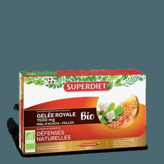 Superdiet Gelée royale, miel d'acacia & pollen Bio - 20 ampoules