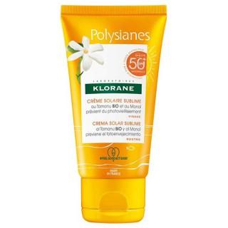 Klorane Polysianes Crème solaire sublime visage au Monoï et Tamanu Bio SPF50 - 50ml