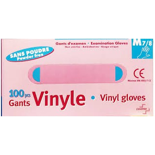 Cooper gants vinyles non poudrés taille M 7/8