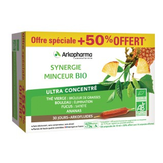 Arkofluides Synergie minceur Bio - 20 ampoules +50% Offert