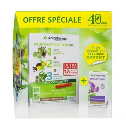 Arkofluides Programme détox bio 30 ampoules + Desmodium 45 gélules Offertes