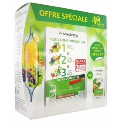 Arkofluides Programme minceur bio 30 ampoules + Konjac 45 gélules Offertes