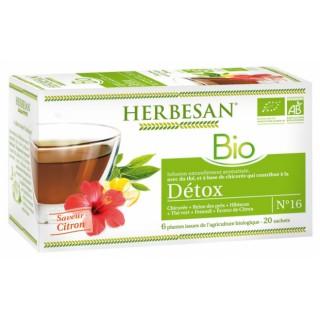 Herbesan Infusion Détox saveur citron N°16 Bio - 20 sachets
