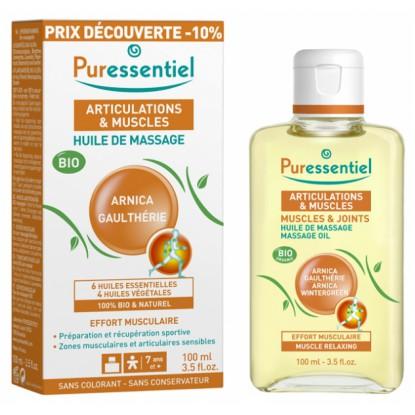 Puressentiel Articulations et Muscles Huile massage arnica & gaulthérie Bio - 100ml