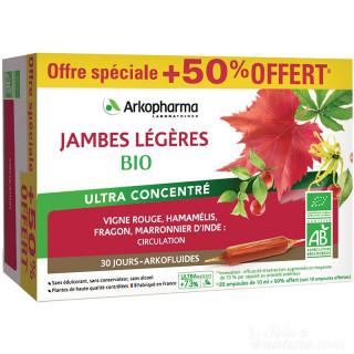Arkofluides Jambes légères Bio - 20 ampoules + 10 offertes