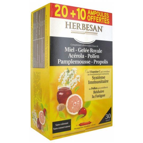 Herbesan Miel Gelée Royale Acérola Pollen Pamplemousse Propolis - 20 ampoules