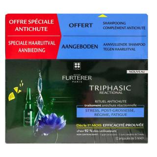 Furterer Triphasic Reactional Rituel anti-chute Traitement antichute réactionnelle 2 x 5 ml + Shampoing stimulant 100ml Offert