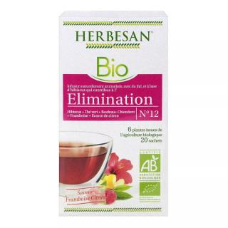 Herbesan Infusion Élimination saveur framboise citron N°12 Bio - 20 sachets