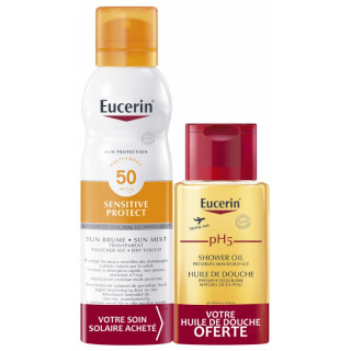 Eucerin Sun Sensitive Protect Brume spray transparente SPF50 - 200ml + Huile de douche PH5 100ml Offerte