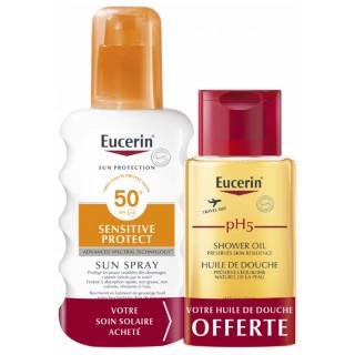 Eucerin Sun Sensitive Protect Crème spray transparente SPF50 - 200ml + Huile de douche PH5 100ml Offerte