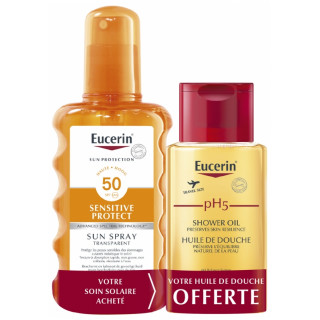 Eucerin Sun Sensitive Protect Spray transparent SPF50 - 200ml + Huile de douche PH5 100ml Offerte