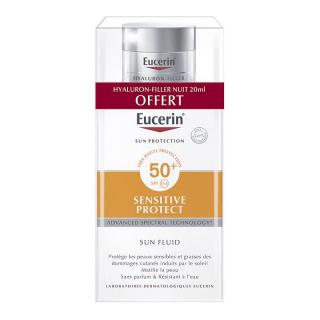 Eucerin Sun Sensitive Protect Fluide matifiant SPF50+ - 50ml + Soin de nuit Hyaluron-Filler 20ml Offerte