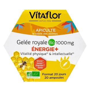 Vitaflor Gelée Royale Bio 1000 mg énergie+ - 20 ampoules