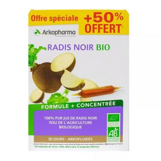 Arkofluides Radis noir Bio - 20 ampoules + 10 Offertes
