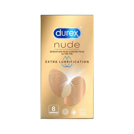 Durex Nude Extra lubrification - 8 préservatifs